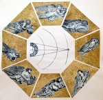 Radcliffe Observatory-WInds and  Venus.  Linocut & Drypoint (Tower of the Winds Series)