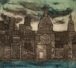 Collagraph plate for the print 'The City'