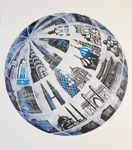 Global-Linocut Monoprint Commission for the CityUK