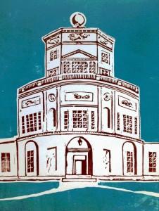Radcliffe Observatory-Linocut II